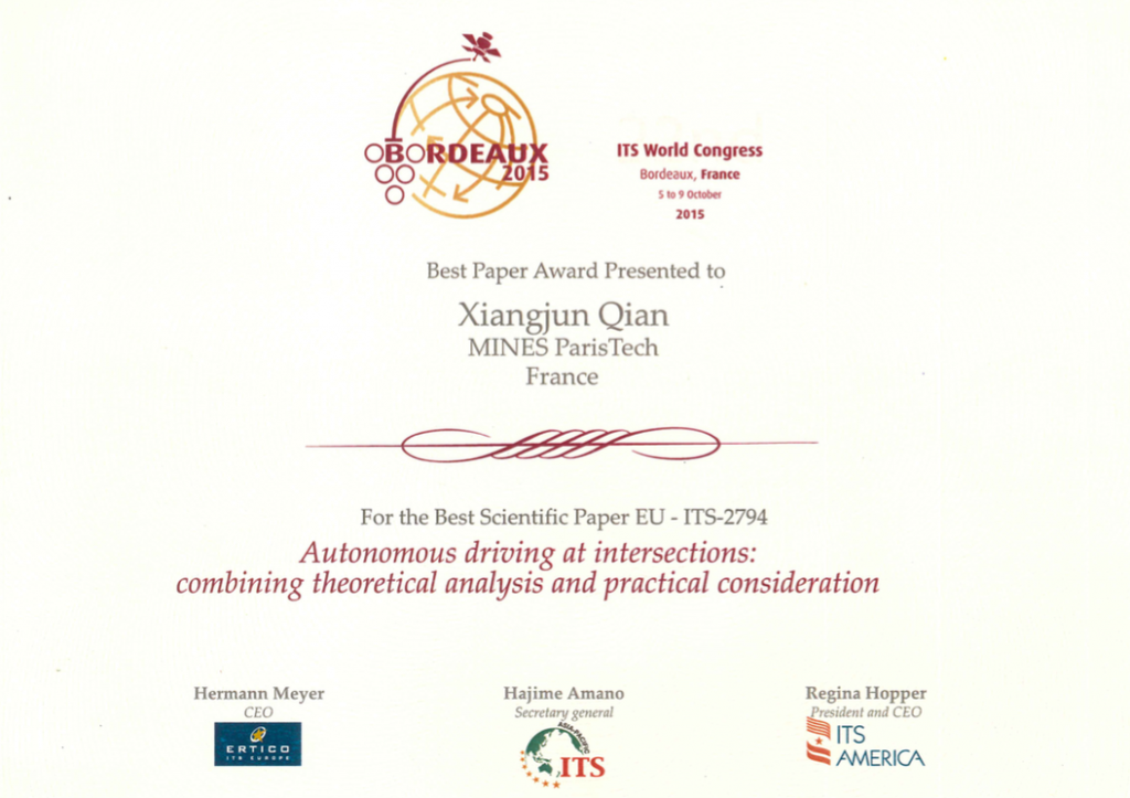 Best Paper Award ITS World Congress Bordeaux 2015